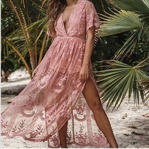 Gianni Bini Dusty Rose Lace Romper Maxi